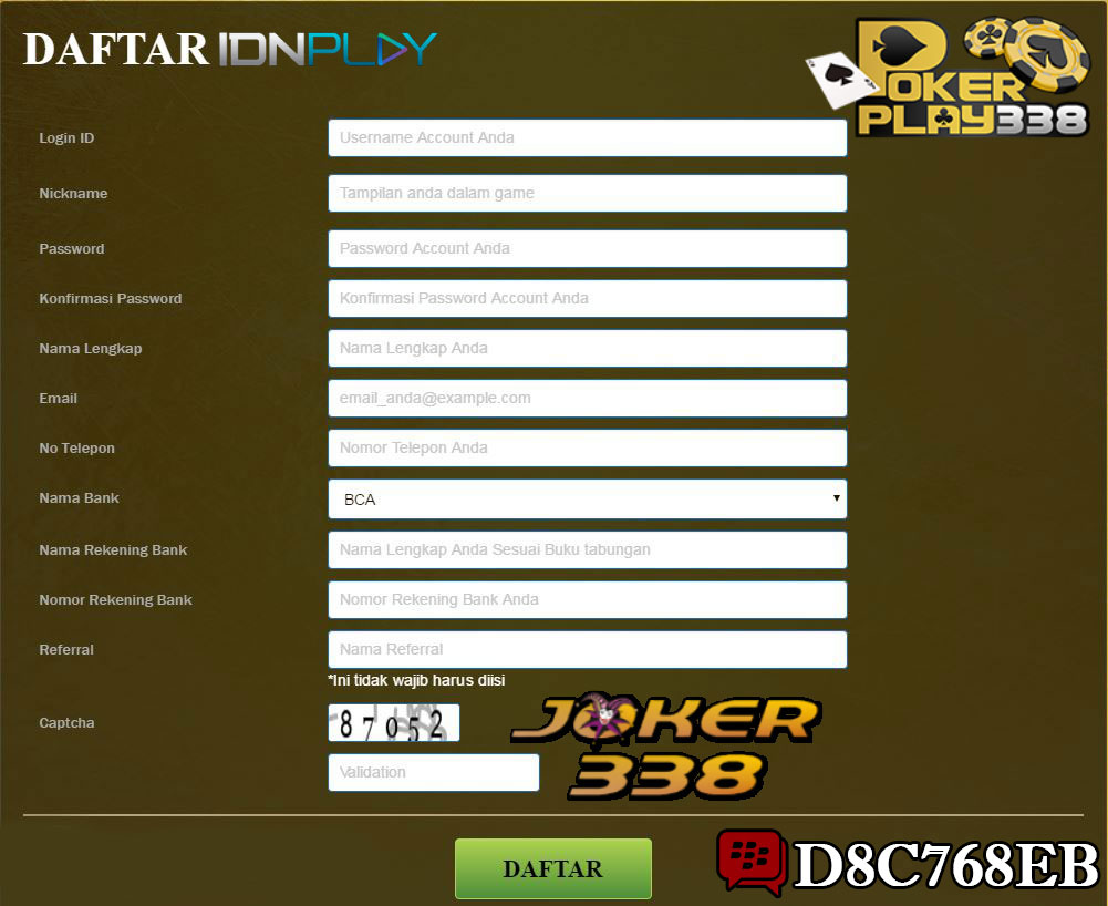 Form Daftar Pokerplay338